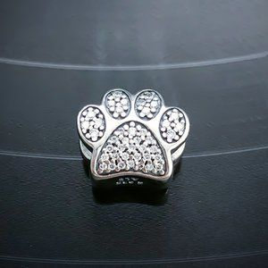 PANDORA Sparkling Paw Print Charm
